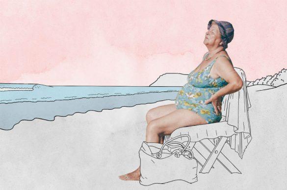 Woman sunbaking on beach